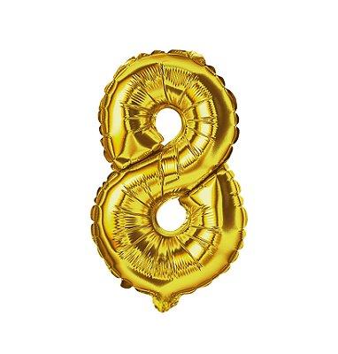Balão Metalizado nº8 Dourado 1metro unid