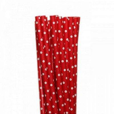 Canudo Papel 19cmx5mm Poá Vermelho e Branco 20 unids