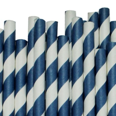 Canudo Papel 19cmx9mm Listrado Azul Escuro 12 unids (Milk shake)