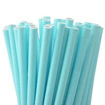 Canudo Papel 19cmx5mm Azul Claro 20 unids