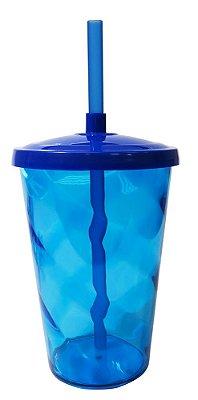 copo Twister 400ml Azul c/tampa e canudo unid
