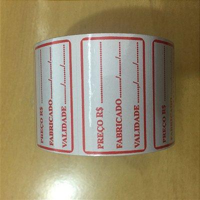 Etiqueta Preço, fabricado e validade 30mmx47mm 333 unids