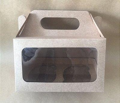 Maleta para Cup Cake Duplo Kraft c/ visor c/10 unids