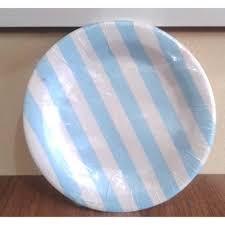Prato Papel 18cm Listrado Azul Claro 10 unids