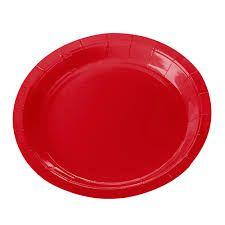 Prato Papel 18cm Vermelho Liso 10 unids