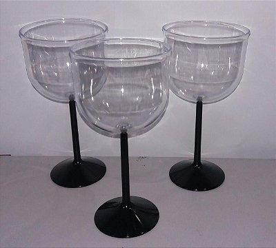 Taça Acrilica 500ml Gin Cristal Preta unid