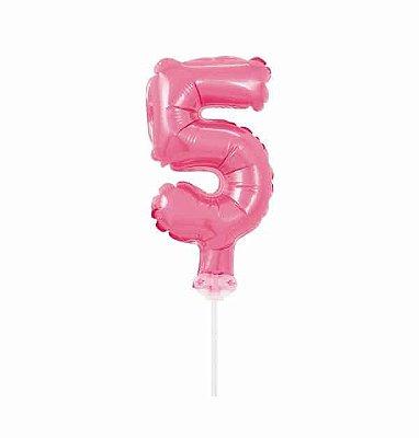 Balão Metalizado Topper Bolo nº5 Rosa Claro unid