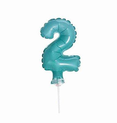 Balão Metalizado Topper Bolo nº2 Azul Turquesa unid