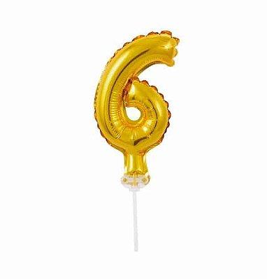Balão Metalizado Topper Bolo nº6 Dourado unid