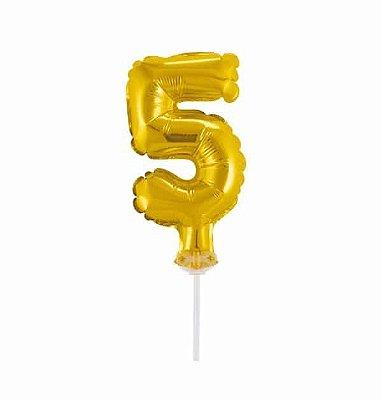 Balão Metalizado Topper Bolo nº5 Dourado unid
