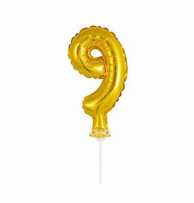 Balão Metalizado Topper Bolo nº9 Dourado unid