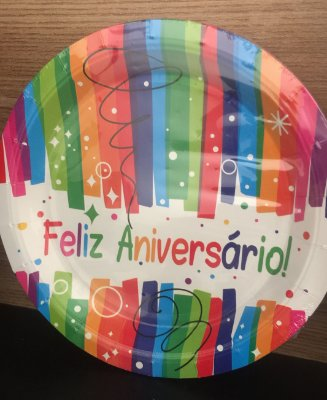 Prato Papel 18cm Feliz aniversario 10 unids
