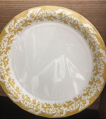 Prato Papel 18cm Branco Borda Dourada 10 unids