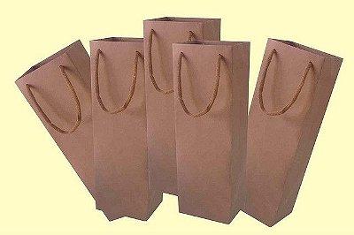 Sacola papel kraft 35x11x9 (01 garrafa) c/10 unids