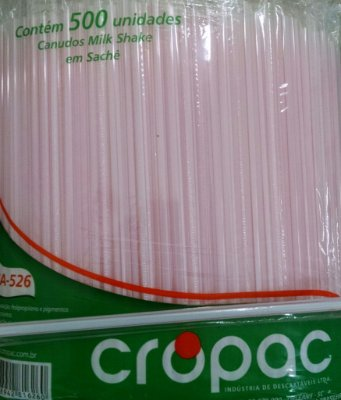 Canudo Milk shake Embalado Cropac 6x500 (6mm)