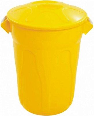 Cesto 40lts amarelo redondo c/tmp