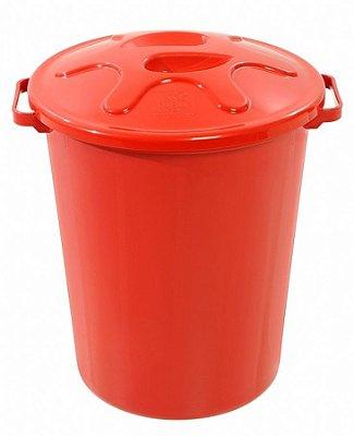 cesto 40lts vermelho redondo c/tmp