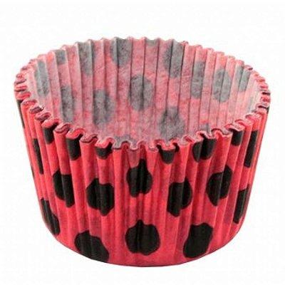 Forma papel Mini Cupcake Vermelho/preto (poá) c/45unids (consultar disponibilidade antes da compra)