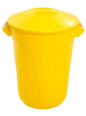 Cesto 100lts Amarelo Redondo c/ tmp unid