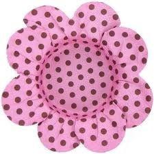 Forma Papel Cartão Flor Poá Rosa/marrom c/50 unids (consultar disponibilidade antes da compra)