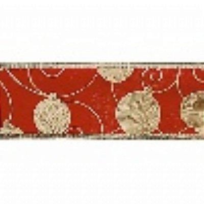 Fita Decorada Aramada 3,8cmx10mts Vermelha/Ouro (bolas) unid
