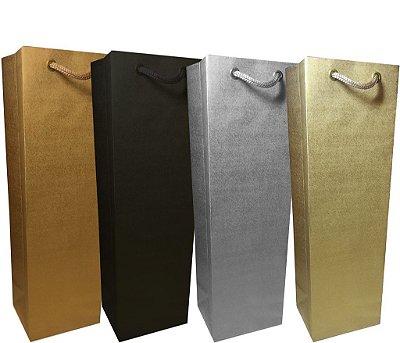 Sacola papel Ouro 35x11x9 (01 garrafa) c/10 unids