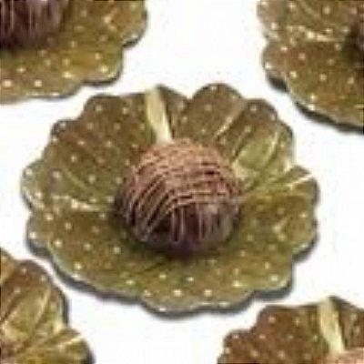 Forma Papel Seda Flor Poá Ouro e branco c/40 unids (consultar disponibilidade antes da compra)