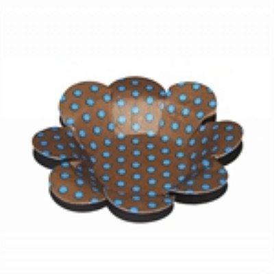 Forma Papel Cartão Flor Poá Marrom/Azul C/50 unids (consultar disponibilidade antes da compra)