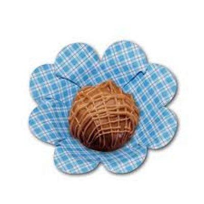 Forma Papel Cartão Flor Xadrez Azul Claro c/50 unids (consultar disponibilidade antes da compra)
