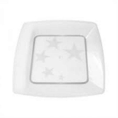 Prato Acrilico 21x21cm Square Cristal 10 unids