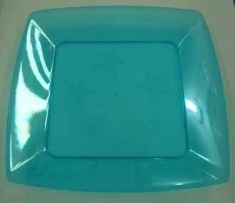 Prato Acrilico 21x21cm Square Azul 10 unids