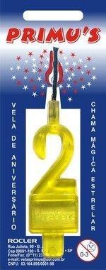 Vela Acrilica nº2 Amarela unid (consultar numeros loja)