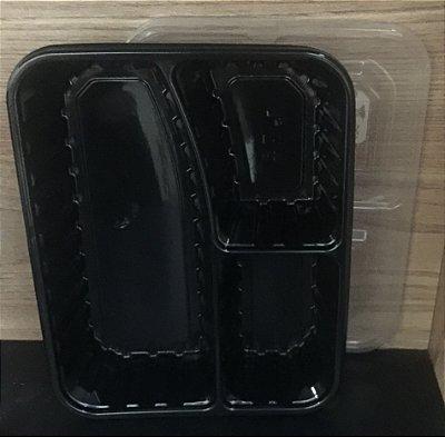 Embalagem Marmita 3divisões 1000ml Preta c/tampa Siry 200 unids