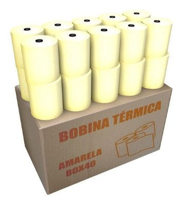 Bobina Térmica Impressora 80x40 (AMARELA) 10 unids