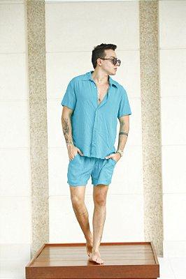 Conjunto Viscolinho Azul Turquesa