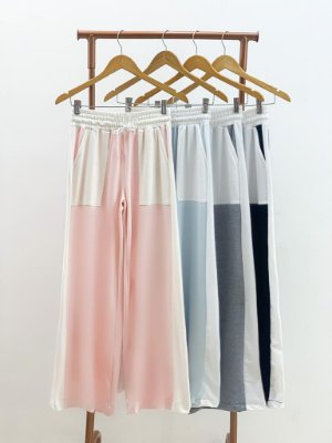 Calça Pantalona Bicolor Viscomalha (Diversas Cores)