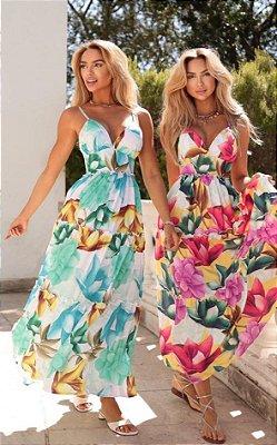 Vestido Silk Flor Estampado (Diversas Cores)