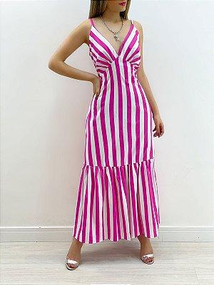 Vestido Tricoline Listrado (Diversas Cores)