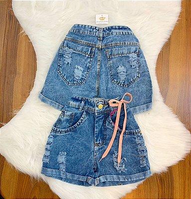 Shorts Jeans Detalhe Cordão