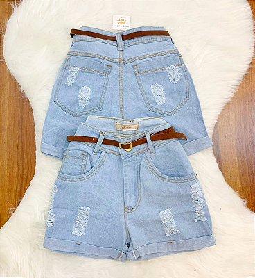 Shorts Jeans Cinto Marrom