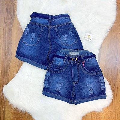 Shorts Jeans Cinto Azul Marinho