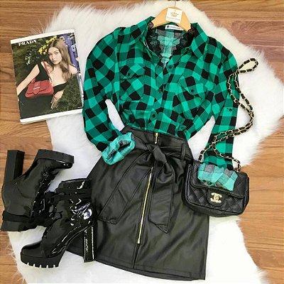Camisa Xadrez Verde Viscose