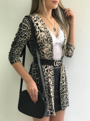 Cardigan Viscomalha Animal Print