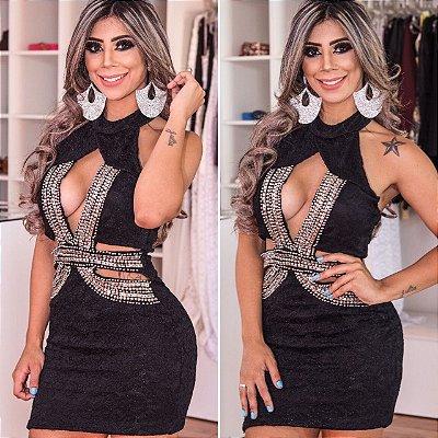 Vestido Elise Renda com Forro (Pedraria bordada a mão)
