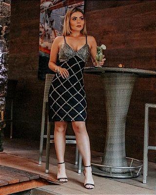 Vestido Veronica Pedrarias Bordadas a mão