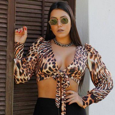 Cropped Animal Print Poliamida