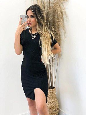 Vestido Manguinha Fenda