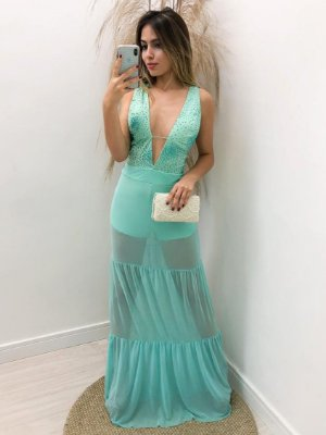 Vestido Tule c/ Pedrarias