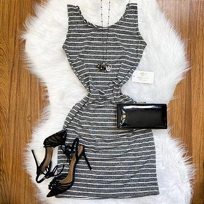 Vestido Listrado Canelado
