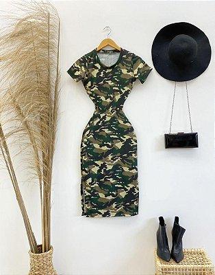 Vestido Militar Midi Canelado
